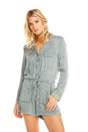 Heirloom Wovens L/S Snap Front Collared Romper at Chaser