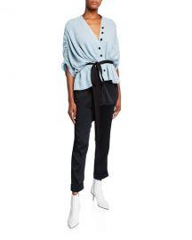 Hellessy Lotus Tie-Waist Ruched-Sleeve Top at Neiman Marcus