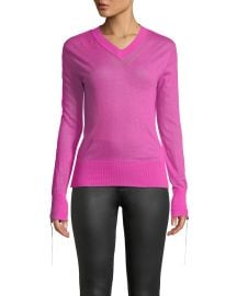 Helmut Lang Tie-Cuff Sheer Cashmere V-Neck Sweater at Neiman Marcus