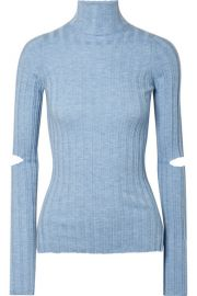 Helmut Lang - Cutout ribbed wool turtleneck sweater at Net A Porter