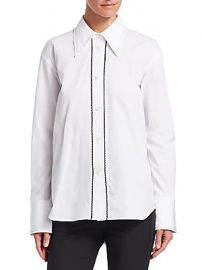 Helmut Lang - Embroidered Cotton Tuxedo Shirt at Saks Fifth Avenue