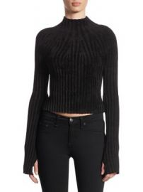 Helmut Lang - Ridge Cropped Velveteen Sweater at Saks Fifth Avenue