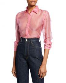 Helmut Lang Button-Down Long-Sleeve Silk Organza Shirt at Neiman Marcus