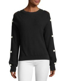 Helmut Lang Button-Sleeve Knit Sweater   Neiman Marcus at Neiman Marcus