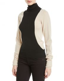 Helmut Lang Colorblock Lambs Wool Turtleneck Sweater at Neiman Marcus