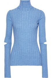 Helmut Lang Cutout ribbed wool turtleneck top at The Outnet