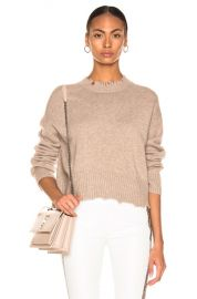 Helmut Lang Distressed Crew Sweater in Beige   FWRD at Forward