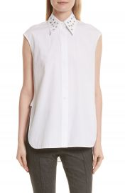 Helmut Lang Eyelet Cotton Poplin Shirt at Nordstrom