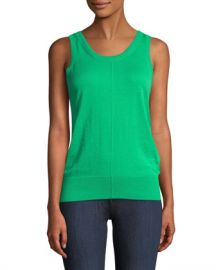 Helmut Lang Folded Cotton-Cashmere Ribbed Tank Top at Neiman Marcus