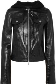 Helmut Lang Hooded Glazed Leather Jacket at Net a Porter