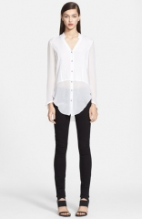 Helmut Lang Lawn Button Front Cotton Shirt at Nordstrom