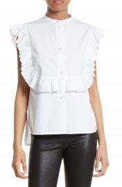 Helmut Lang Ruffle Bib Cotton Shirt at Nordstrom