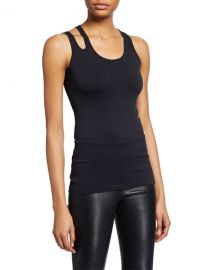 Helmut Lang Scoop-Neck Slashed Seamless Tank Top at Neiman Marcus