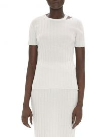 Helmut Lang Slashed Crewneck Short-Sleeve Ribbed Wool Top at Neiman Marcus