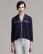 Helmut Lang Soft Shroud Leather Trim Shirt at Bergdorf Goodman