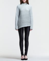 Helmut Lang Striped Angled-Hem Sweater and Stretch Leather Skinny Pants at Neiman Marcus