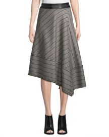 Helmut Lang Striped Basketweave Asymmetric Midi Skirt at Neiman Marcus