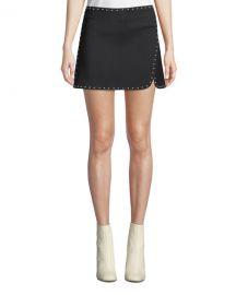 Helmut Lang Studded Side-Split Mini Skirt at Neiman Marcus