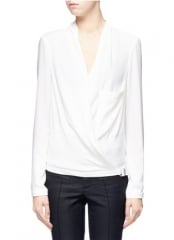 Helmut Lang white wrap blouse at Lane Crawford