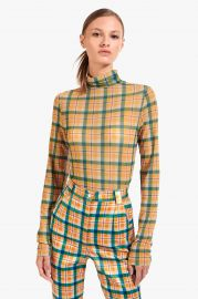 Helvin Top in Butterscotch Plaid at Staud