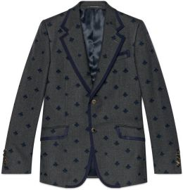 Heritage Flannel Jacket with Bees by Gucci at Gucci