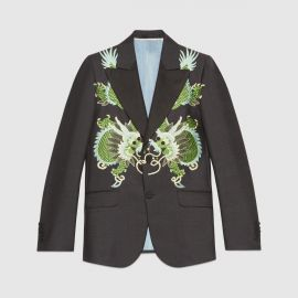 Heritage Wool Mohair Jacket with Dragons by Gucci at Gucci