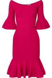 Herv   L  ger - Fluted off-the-shoulder textured stretch-knit dress at Net A Porter