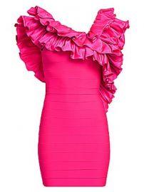 Herve Leger - Crisscross Ruffle Mini Dress at Saks Fifth Avenue