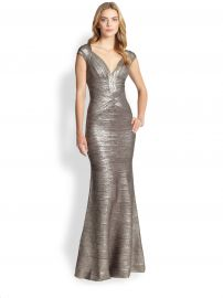 Herve Leger - Metallic Flared Bandage Gown at Saks Fifth Avenue