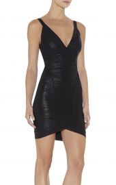 Herve Leger Ari Woodgrain Foil Print Dress at Herve Leger