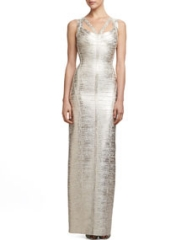 Herve Leger Corozo Metallic Strappy Bandage Gown at Neiman Marcus