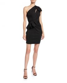 Herve Leger Double-Face Metallic One-Shoulder Dress at Neiman Marcus