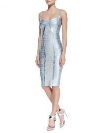 Herve Leger Judith Foiled Metallic Bandage Dress at Neiman Marcus