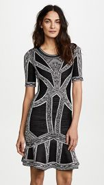 Herve Leger Lace  amp  Eyelet Detail Midi Dress at Shopbop