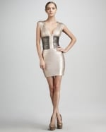 Herve Leger Metallic Colorblock Bandage dress at Neiman Marcus