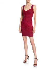 Herve Leger Ruched Tulle V-Neck Bandage Dress at Neiman Marcus