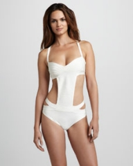 Herve Leger Side-Cutout One-Piece Bandage Swimsuit at Neiman Marcus