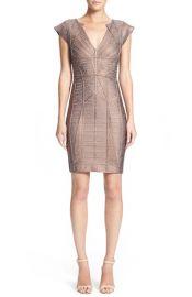 HerveLeger WoodgrainMetallicFoil Bandage Dress at Nordstrom