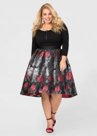 Hi-Lo Winter Floral Skirt by Ashley Stewart at Ashley Stewart