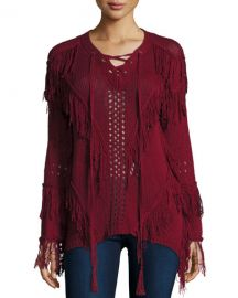 Hiche Fringe Open-Knit Lace-Up Sweater burgundy at Neiman Marcus