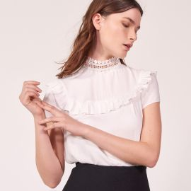 High Collar Lace Top white at Sandro