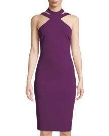 High-Neck Crepe Midi Dress by Bebe at Last Call