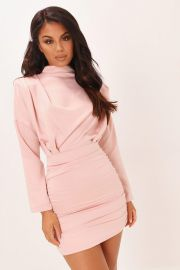 High Neck Ruched Back Satin Mini Dress by I Saw It First at I Saw It First