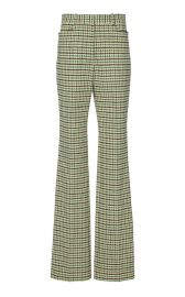 High-Rise Slim Flare Check Trousers by Victoria Beckham at Moda Operandi