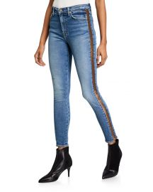High-Waist Ankle Skinny Jeans with Metallic Stripes by 7 for all mankind at Neiman Marcus