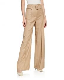 High-Waist Sleek Flannel Belted Pants at Neiman Marcus
