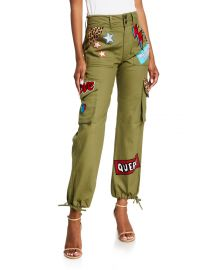 High-Waisted Cargo Pants w/ Patches at Neiman Marcus
