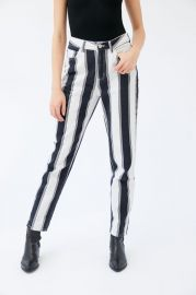 High-Waisted Mom Jean – Black + White Stripe at Urban Outfitters