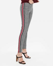High Waisted Plaid Side Stripe Leggings at Express