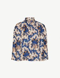 High-neck printed silk blouse by Sandro at Selfridges